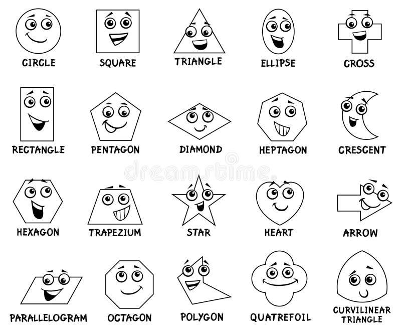 动画片基本的几何形状字符 库存例证