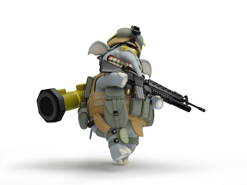 动画片大象步兵步行3D例证 皇族释放例证