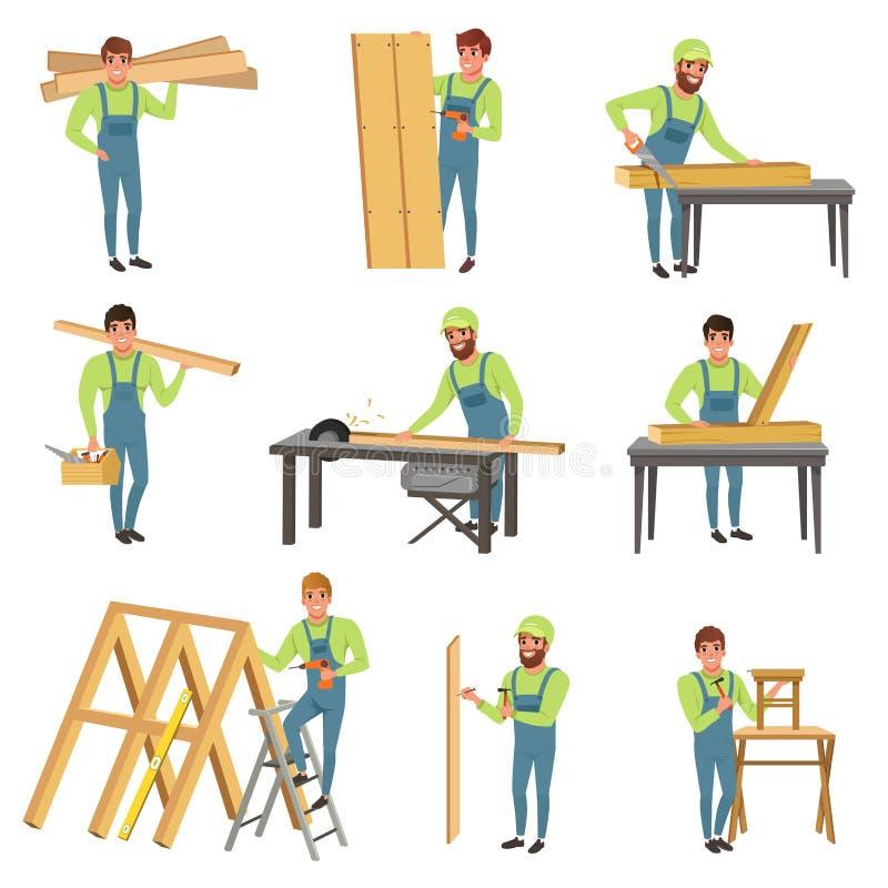 动画片套木匠字符在工作 有工具的人们为锯和木匠业 蓝色总体的年轻人 库存例证