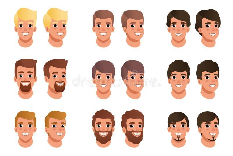 动画片套用不同的发型、颜色和胡子的人具体化:黑,白肤金发,褐色 顶头人 男性与 皇族释放例证