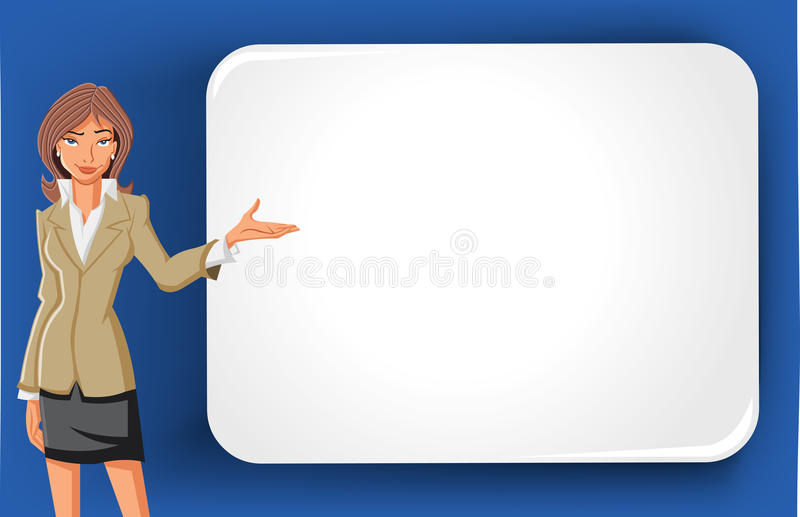 动画片女商人和空白广告牌 向量例证