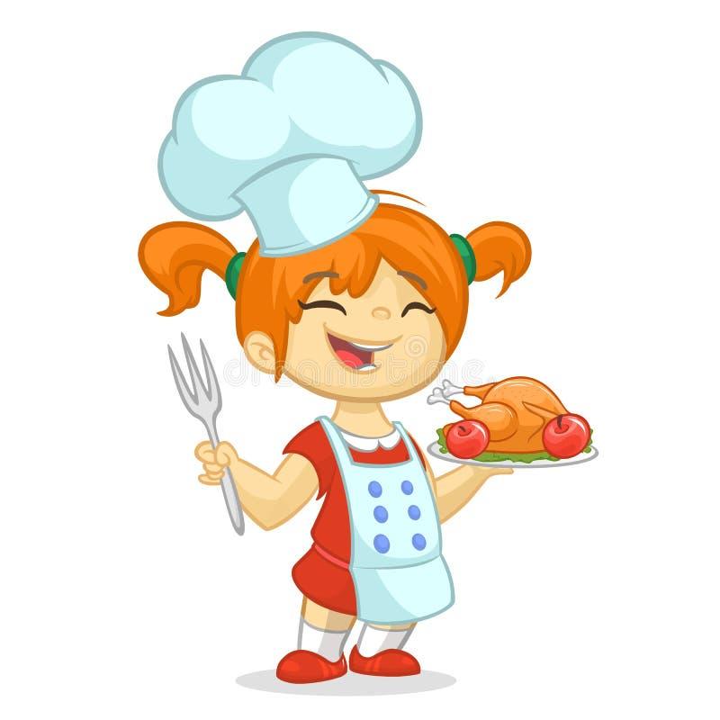 动画片女孩服务烤感恩火鸡盘 感恩设计 库存例证