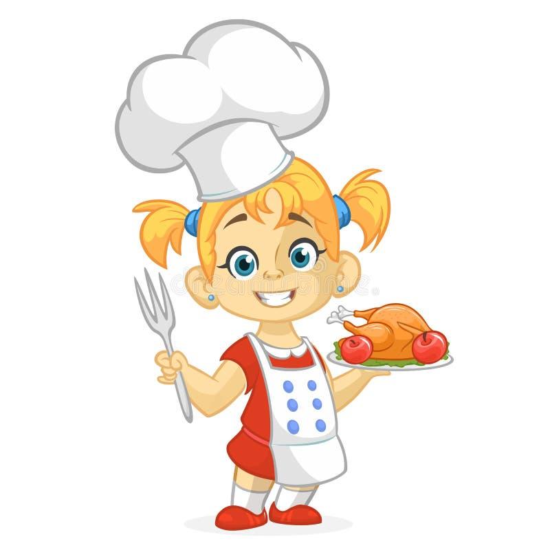 动画片女孩服务烤感恩火鸡盘 感恩设计 向量例证