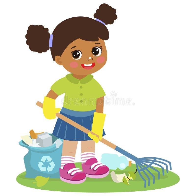 动画片女孩清洁和倾斜垃圾传染媒介 贡献入环境保存 孩子谁保护自然 库存例证