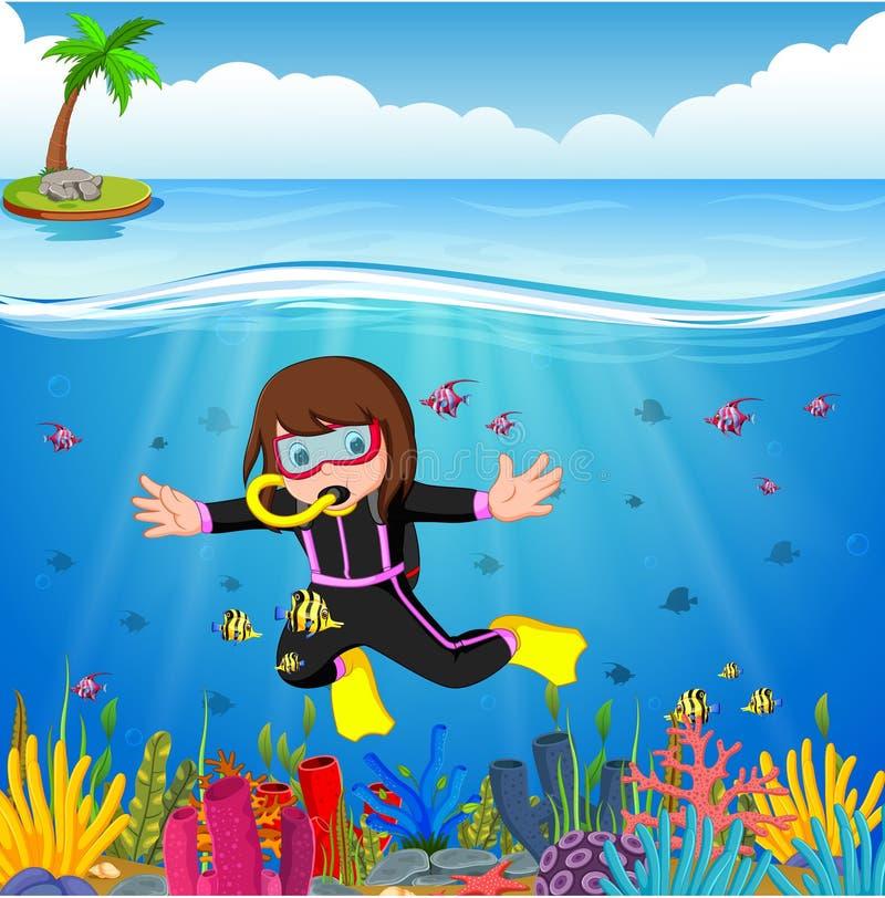 动画片女孩潜水在海 库存例证