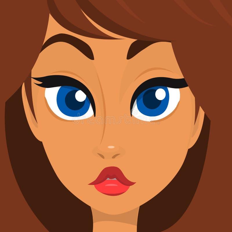 动画片女孩面孔 美好的妇女具体化的传染媒介例证 向量例证