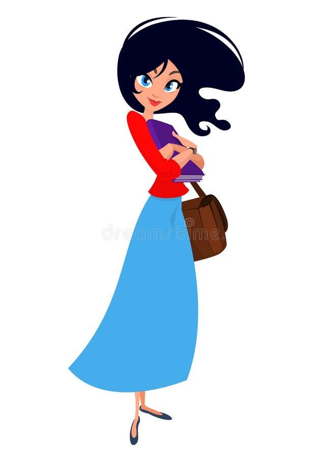 动画片女孩 导航妇女的例证蓝色便服和黄色衬衣的 向量例证