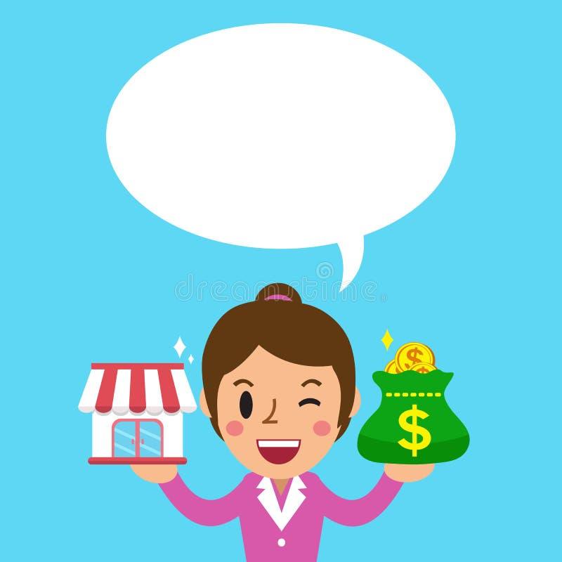动画片女实业家运载的特权企业商店和金钱请求与白色讲话泡影 皇族释放例证