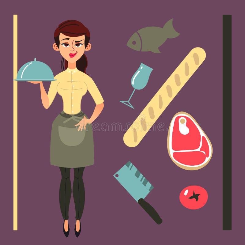 动画片女服务员在餐馆 与有些标志的平的设计 库存图片