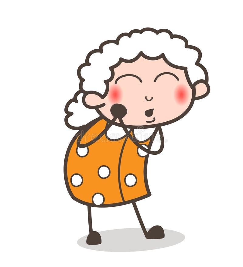 动画片好奇老婆婆雾浊的面孔表示传染媒介例证 皇族释放例证