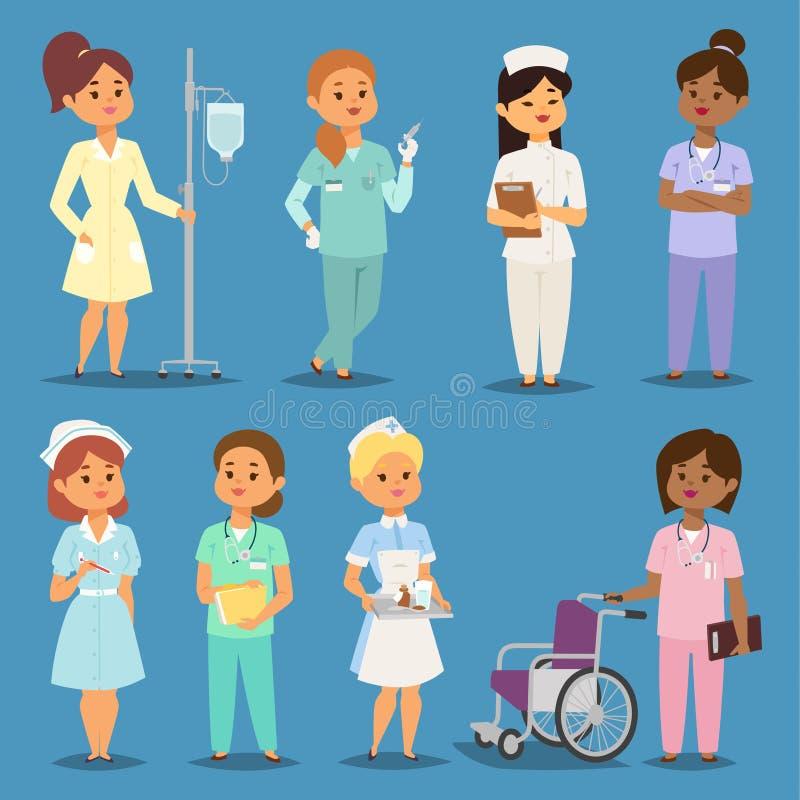 动画片妇女医治护士传染媒介女孩会议医院人 护理字符女性制服 护理字符 皇族释放例证