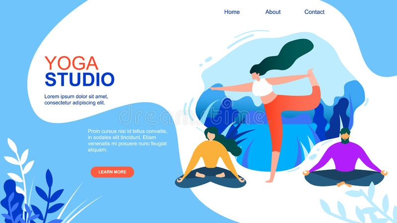 动画片妇女锻炼人思考瑜伽演播室 库存例证