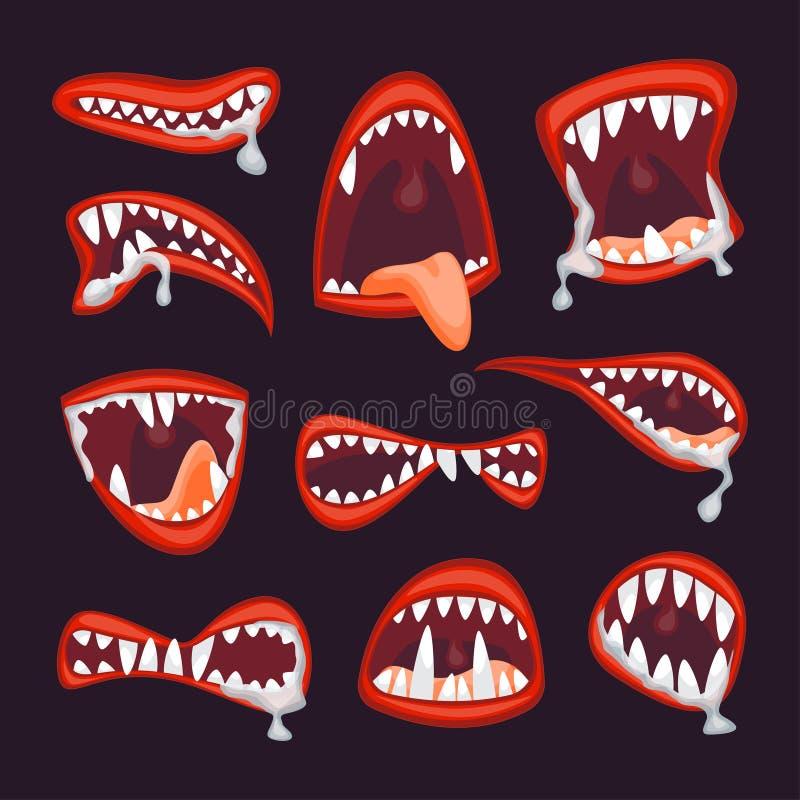 动画片妖怪和恶魔嘴集合 向量 向量例证
