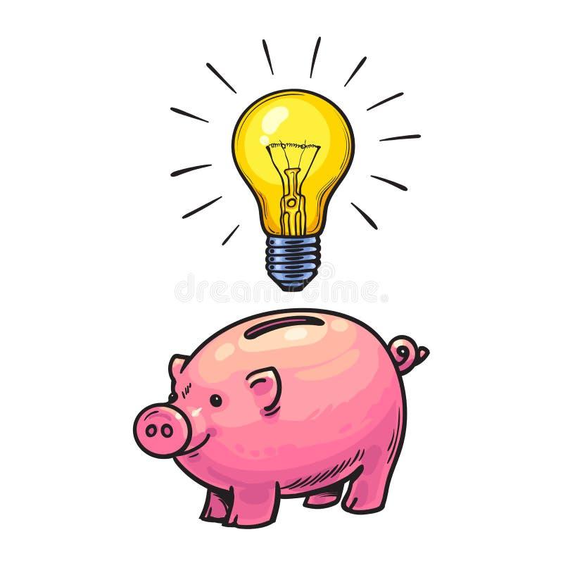 动画片存钱罐和启发的发光的电灯泡标志 投资在创造性和创新手拉的传染媒介 库存例证