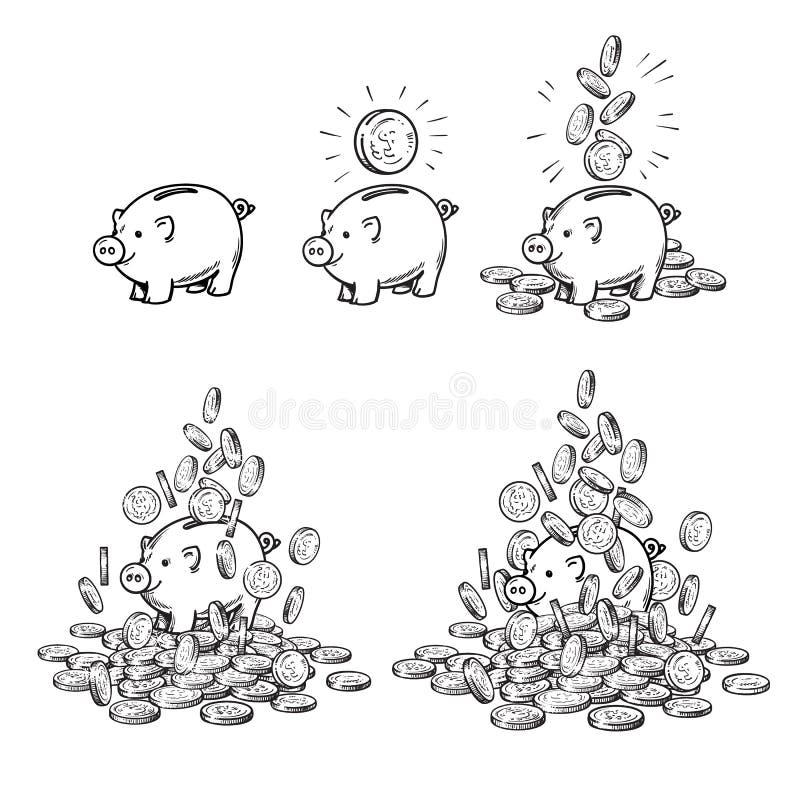 动画片存钱罐和硬币集合 贪心与一枚硬币,当落的现金,被堆积在金钱 增长的财富和事务 库存例证