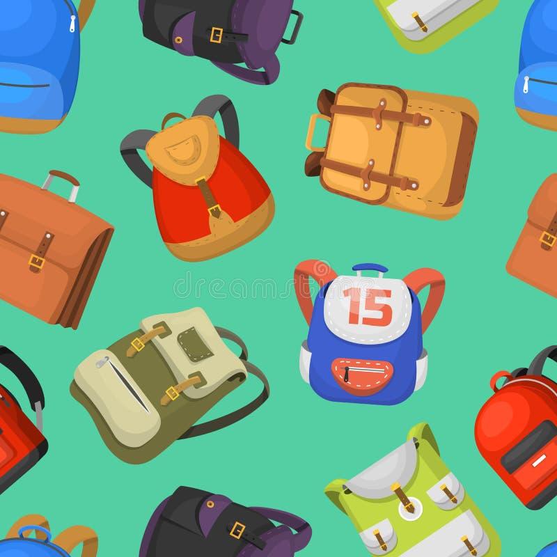 动画片孩子书包回到学校背包集合例证无缝的样式背景的传染媒介背包 向量例证