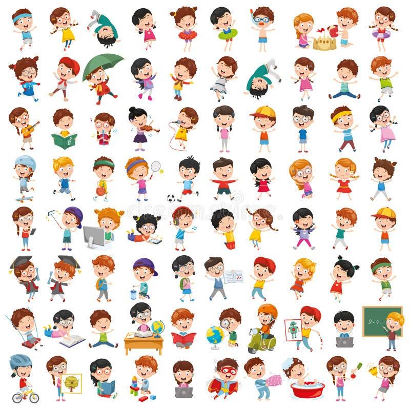 动画片孩子的传染媒介汇集 库存例证