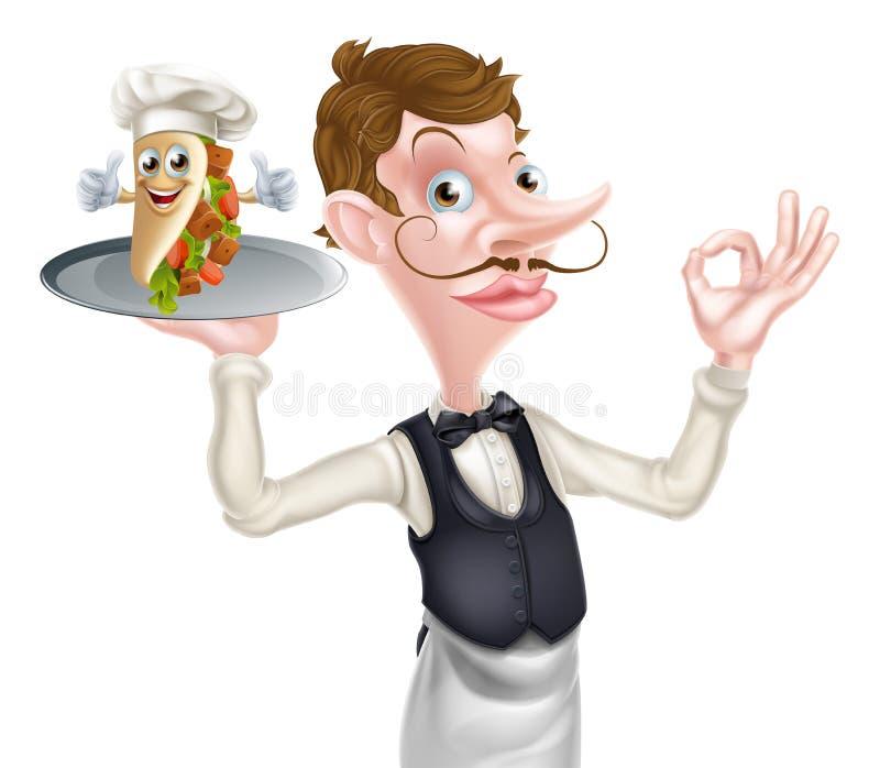 动画片完善的Kebab侍者男管家 皇族释放例证