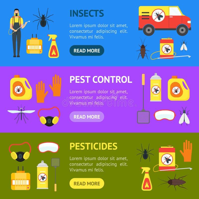 动画片害虫控制服务业横幅水平的集合 向量 库存例证