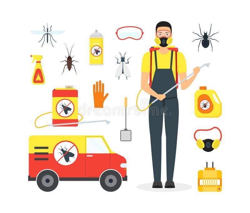 动画片害虫控制服务业 向量 库存例证