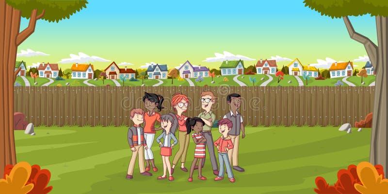 动画片家庭在郊区邻里 向量例证