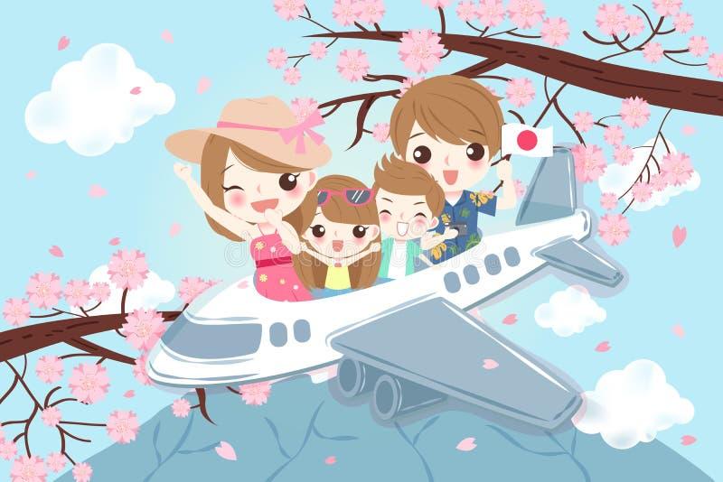 动画片家庭旅行在日本 皇族释放例证
