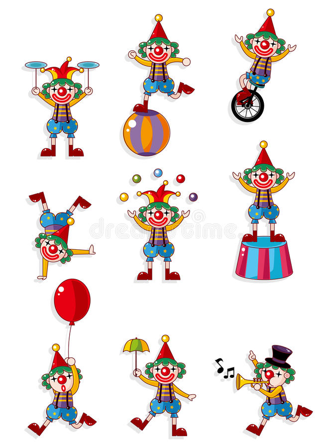 动画片小丑图标 库存例证