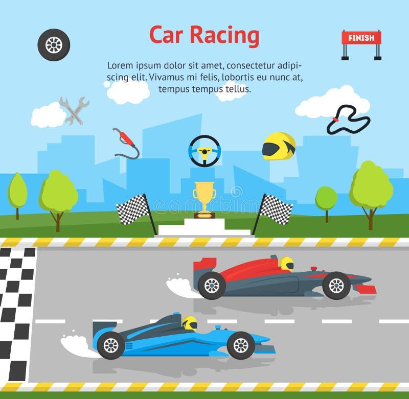 动画片小汽车赛体育专业竞争卡片海报 向量 库存例证