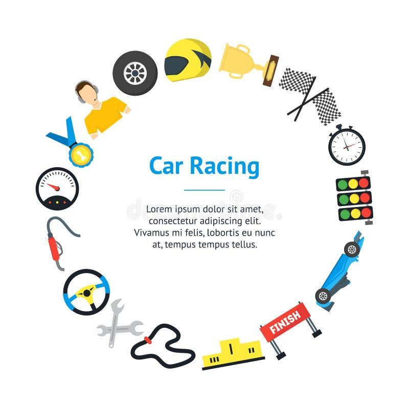 动画片小汽车赛横幅卡片圈子 向量 库存例证