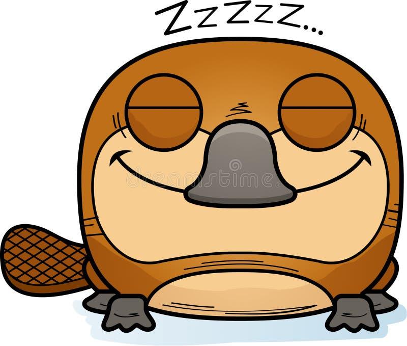 动画片小睡的Platypus 库存例证