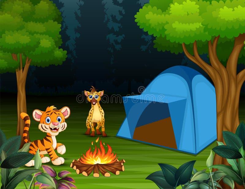 动画片小老虎和鬣狗在露营地 皇族释放例证