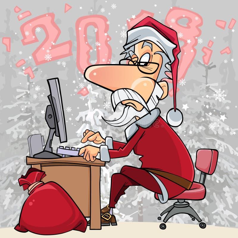 动画片工作在一台计算机的圣诞老人在森林2018年 库存例证