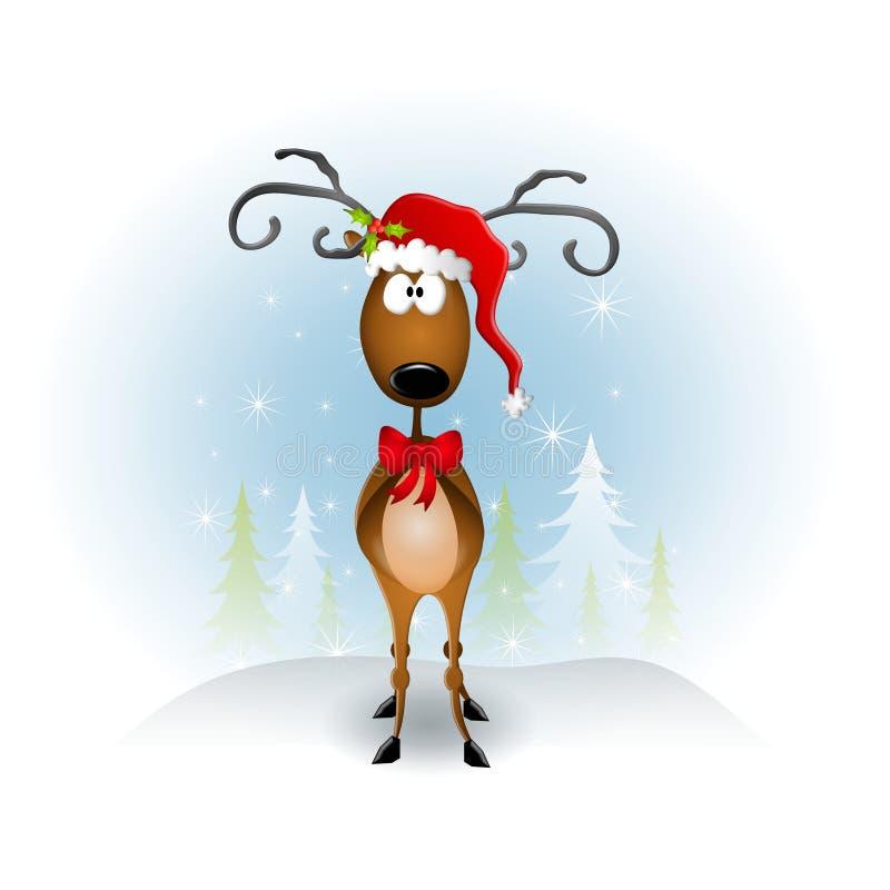 动画片帽子驯鹿圣诞老人 库存例证