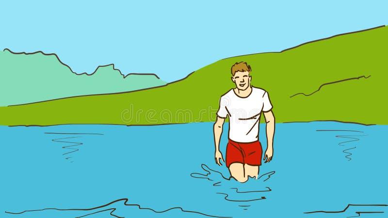 动画片年轻人从在露天的水出来 库存例证