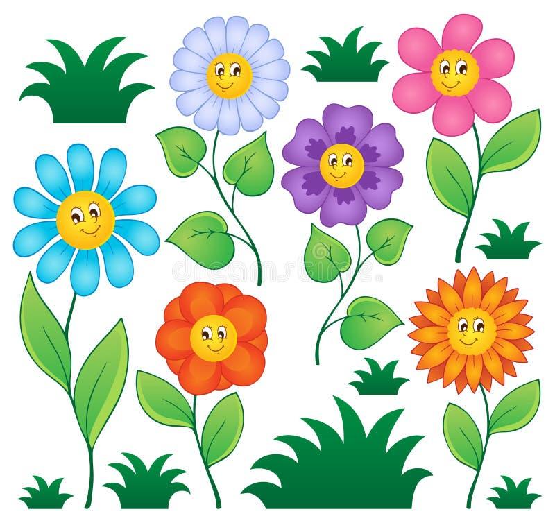 动画片开花收集 向量例证