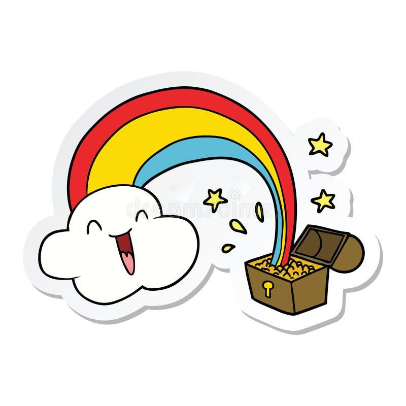 动画片彩虹和金壶的贴纸 库存例证
