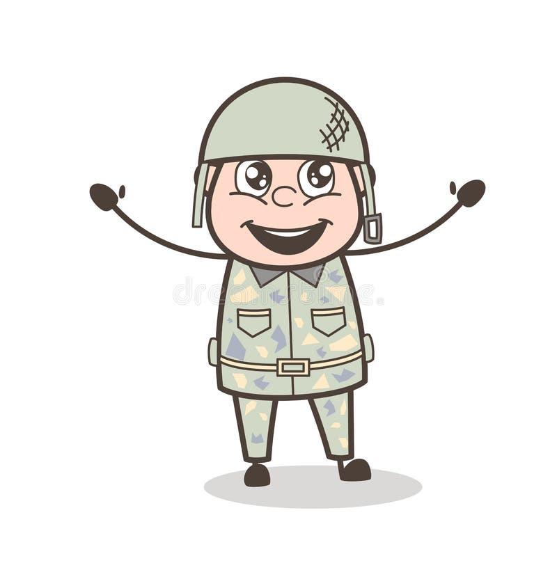 动画片快乐的军队人面孔表示传染媒介例证 皇族释放例证