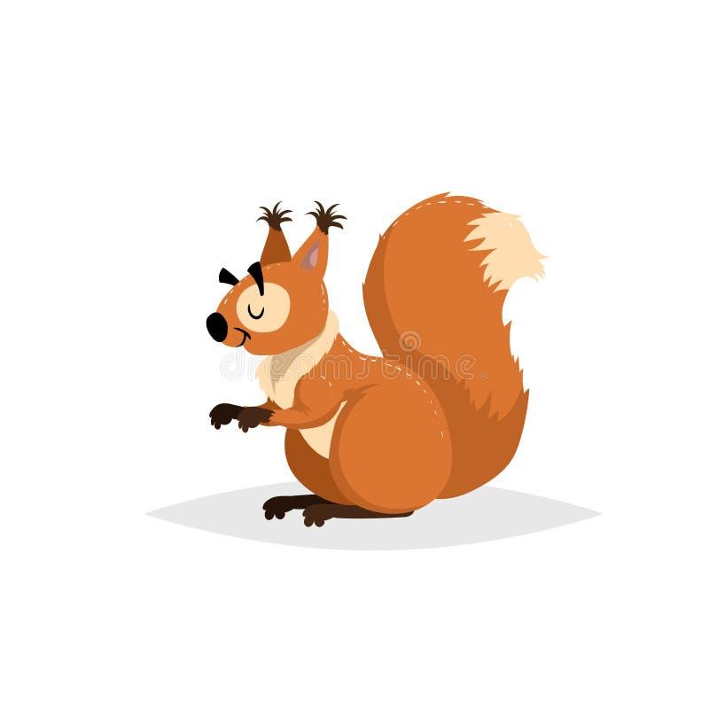 动画片快乐的蓬松灰鼠 森林欧洲和北美动物 与简单的梯度时髦设计的舱内甲板 库存例证