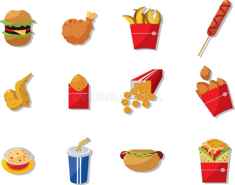 动画片快餐图标 向量例证