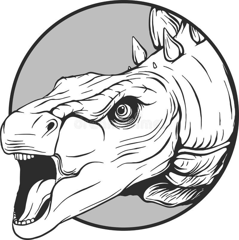 动画片恐龙的剪影在传染媒介illustartion的 库存例证