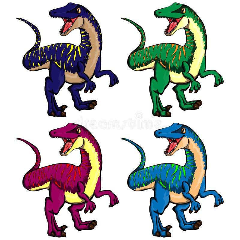 动画片恐龙的被隔绝的传染媒介例证套 向量例证