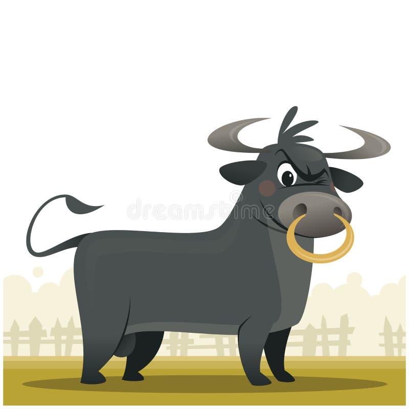 动画片恼怒和超级强的公牛吉祥人字符illu 库存图片