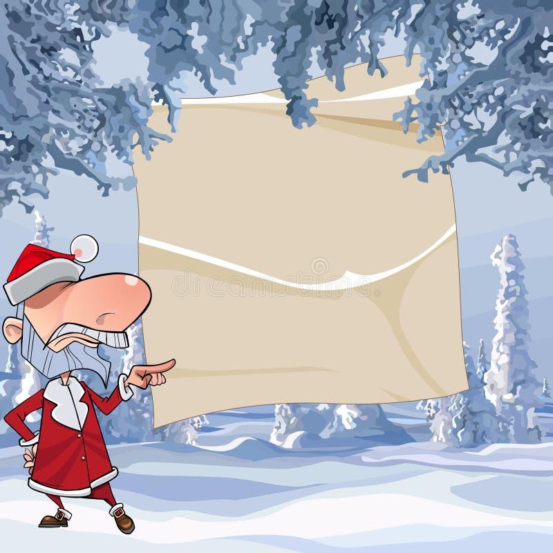 动画片恼怒的圣诞老人指向与他的在空的板料的手指在冬天森林里 向量例证