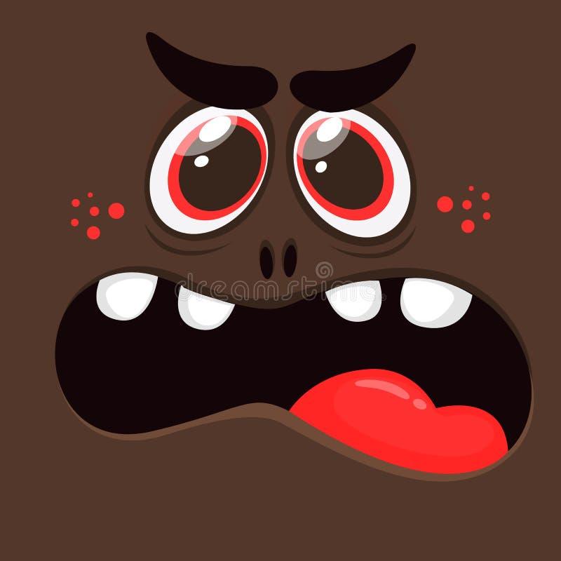 动画片恼怒的妖怪面孔 可怕传染媒介黑人的妖怪 妖怪面具 库存例证