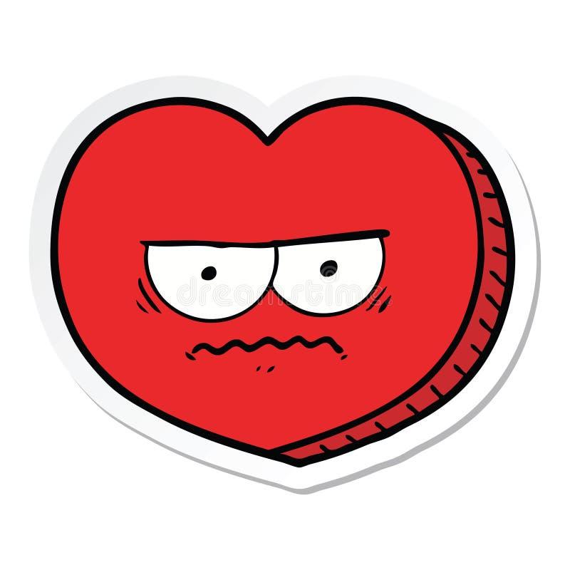 动画片恼怒的心脏的贴纸 皇族释放例证