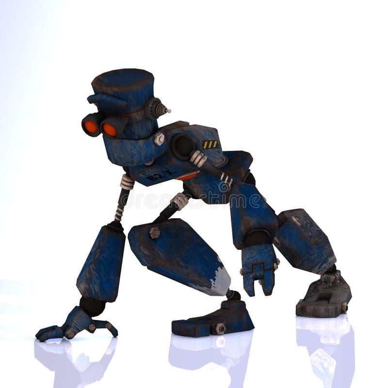 动画片情感富有表情的面容他的机器人 库存例证