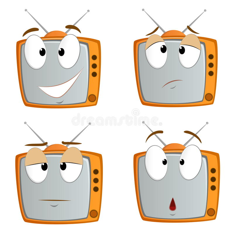 动画片情感集合符号电视 库存例证