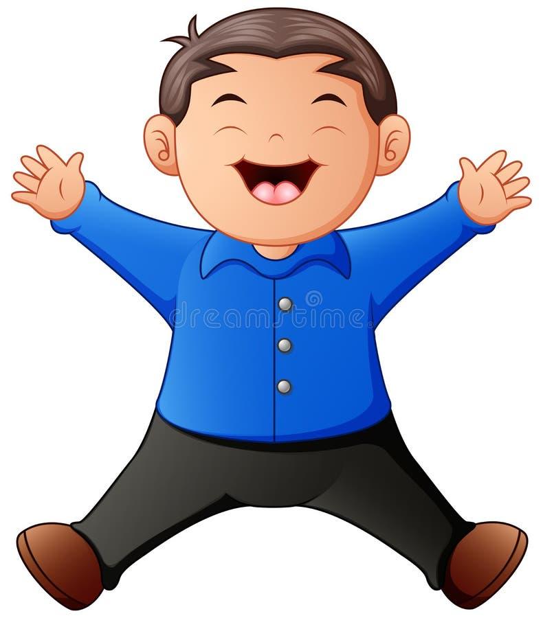 动画片愉快男孩跳跃 向量例证