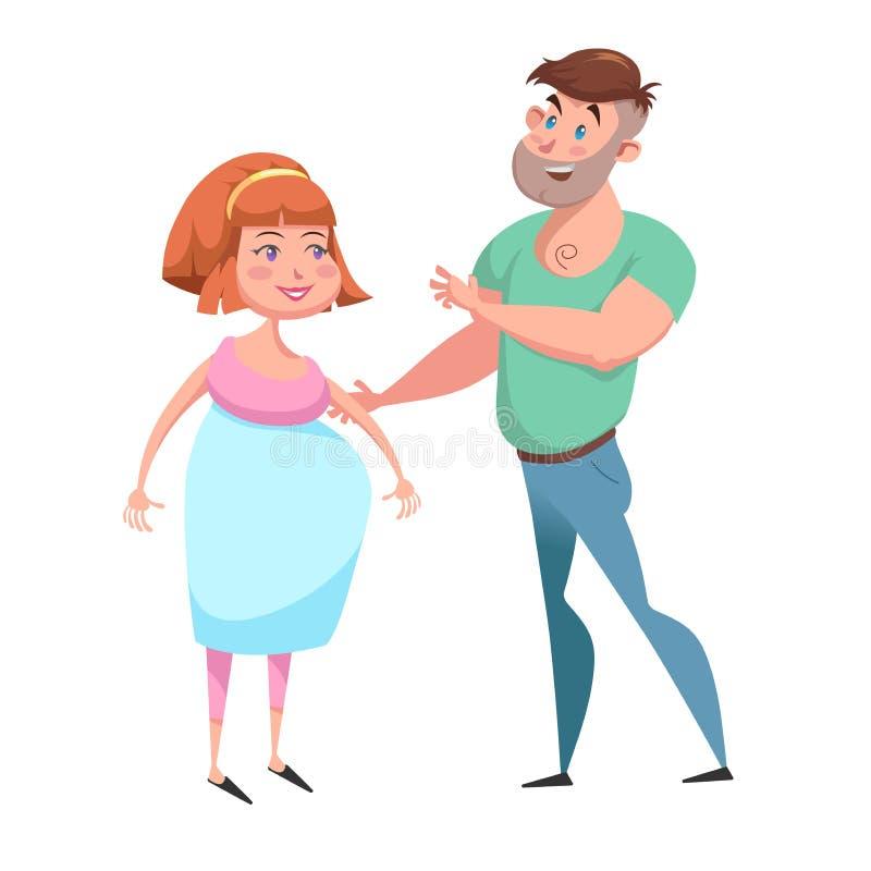 动画片愉快的年轻家庭传染媒介例证 微笑的孕妇和她的丈夫 母道和关心字符标志 库存例证