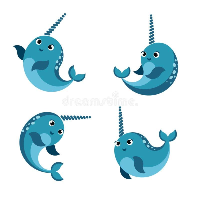 动画片愉快的微笑的narwhal集合 滑稽的kawaii字符被隔绝的集合 平的传染媒介样式例证 向量例证